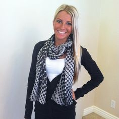 Black Button Up Cardigan with a scarf