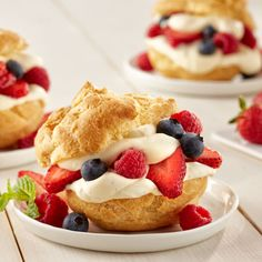 What better way to celebrate the 4th of July than with cream puffs made using eggs, fresh summer berries and fluffy whipped pastry cream?