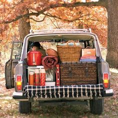 Fill your car with friends and pack delicious picnic food. Take the ride to the countryside and enjoy a day in nature --- My car and stuff wouldn't be cute like that, but still a great, fun idea. Especially the thermoses of hot drinks and a football for the guys!