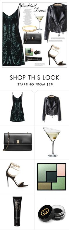 """""""Cocktail Dress"""" by mycherryblossom ❤ liked on Polyvore featuring Salvatore Ferragamo, Eva Solo, Gianvito Rossi, Yves Saint Laurent, Gucci and Cartier"""