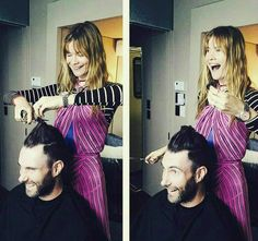 Behati Prinsloo gives Adam Levine haircut. Behati Prinsloo is not only a model! You can call her a hair stylist too: She took the credit for creating Adam Levine's 'do in April 2015. - Behati Prinsloo and Adam Levine's cutest Instagrams