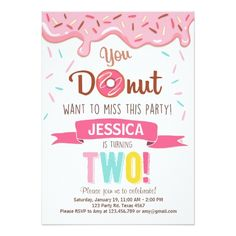 Donut Birthday Party Donut Birthday Party Invitation doughnut Party