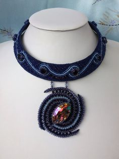 Milky Way  Bead Embroidered Necklace by AnnetaValious on Etsy, $570.00