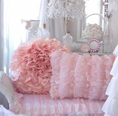 pale pink shabby chic bedding | SHABBY FRENCH COTTAGE CHIC PEACHY PINK RUFFLES PILLOW