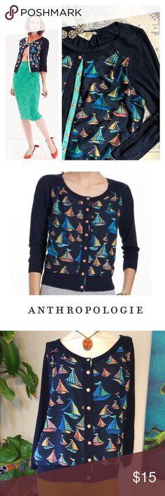 "anthropologie monogram sailboat cardigan Sz Lg EUC EUC  Approx Measurements laid flat-  (double where necessary)  Shoulder to shoulder: 16"" Underarm to underarm: 22"" Waist: 21"" Hips: 19"" Shoulder to Hem: 24"" Sleeve: 21"" (posh only) Anthropologie Sweaters Cardigans"