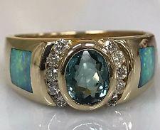 BLUE-GREEN TOURMALINE AUSTRALIAN OPAL AND DIAMOND RING 14K Yellow Gold #4838