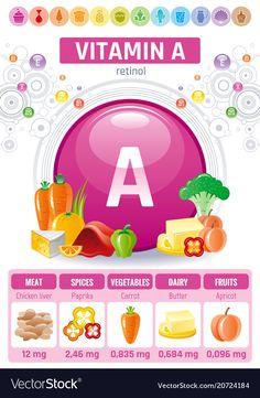 Retinol vitamin a food icons healthy eating flat Vector Image - Vitamins Healthy Snacks For Diabetics, Healthy Meals For Two, Healthy Life, Healthy Eating, Vegan Recipes Easy, Healthy Dinner Recipes, Vitamin A Foods, Vitamins For Women, Food Icons