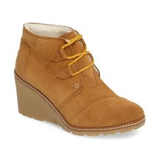 Women's Toms Desert Wedge Bootie ($119) ❤ liked on Polyvore featuring shoes, boots, ankle booties, wheat, wedge bootie, toms bootie, wedge booties, lug sole booties and toms boots