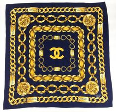 Chanel 'Chains' Navy Blue and Golden Scarf - 1990s   From a collection of rare vintage scarves at https://www.1stdibs.com/fashion/accessories/scarves/