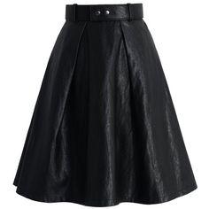 Chicwish Joyful Pleated Faux Leather Midi Skirt in Black ($45) ❤ liked on Polyvore featuring skirts, black, mid-calf skirt, imitation leather skirt, pleated skirt, vegan leather skirt and fake leather skirt