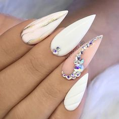 """TheGlitterNail 🎀 Get inspired! on Instagram: """"✨ Pastel nails with marble and crystals 👌 • #Repost 📷: Picture and Nail Design by @yesicasnails"""