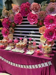 Papers flowers. Flower party, pink, party ideas, birthday