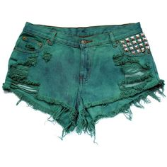 Green high waist shorts XL ($50) ❤ liked on Polyvore featuring shorts, bottoms, highwaist shorts, green shorts, shiny shorts, high-waisted cut-off shorts and high rise shorts
