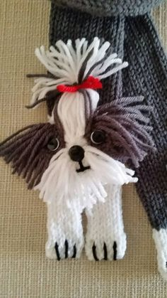A fun scarf will a puzzled shih tzu face. This cuddly pup was designed from a photo of Bruno who was adored by his friend. Carefully placed yarn details the colors in his face and ears. Baby Knitting Patterns, Dog Clothes Patterns, Crochet Patterns, Shih Tzu, Chat Crochet, Crochet Capas, Bonnet Crochet, Cat Scarf, Dog Sweaters
