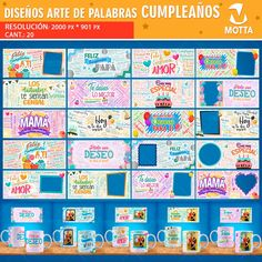 Birthday Sublimation Templates Word Art - Birthday Mug Templates - Mug Template - Sublimation Happy Birthday In Spanish, Happy Birthday Love, Birthday Cup, Mug Template, Templates, Word Art, Sublimation Mugs, Wish You The Best, Are You Happy