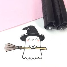 Spooky freut sich so auf Halloween, dass er es schon versucht … Nice October! Spooky is so looking forward to Halloween that he already tries … Kawaii Halloween, Halloween Doodle, Cute Halloween Drawings, Halloween Things To Draw, Happy Halloween, Preschool Halloween, Whimsical Halloween, Retro Halloween, Halloween Witches