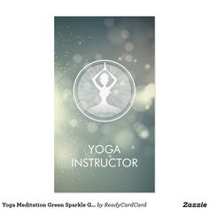 Yoga Meditation Green Sparkle Glitter Bokeh Lights Business Card