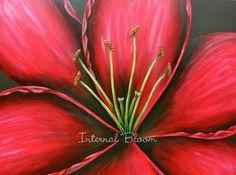 "Red Lily 30"" x 40"" Acrylic/Mixed Media www.internalbloom.com denise@internalbloom.com"