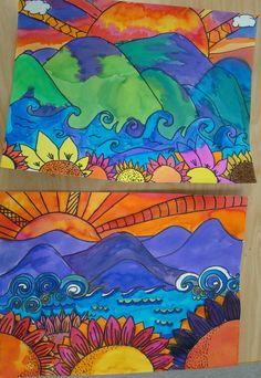 NC landscape watercolor grades 4-5.