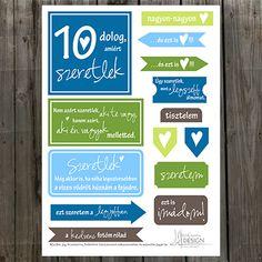 """NőiCsizma   """"10 dolog, amiért szeretlek"""" címkecsomag"""