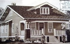 """Ad for the Sears Kit """"Vallonia"""" model. Credit: Joan Menzer - she went back to visit her ancestral home. Craftsman Bungalow Exterior, Bungalow Porch, Craftsman Style Bungalow, Sears Craftsman, Craftsman Bungalows, Craftsman Houses, Cottages And Bungalows, Amazing Architecture, Residential Architecture"""