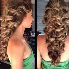 Fancy formal hair with long wavey curls
