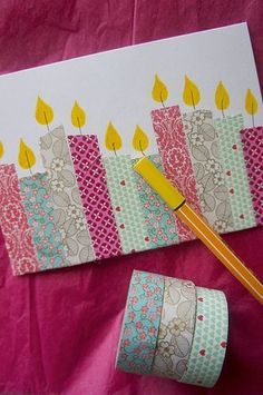 Luxuriöse Geburtstagskarte Best Picture For DIY Birthday Cards with photos For Your Taste You are looking for something, and it is going to tell you exactly what you are l Cumpleaños Diy, Fun Diy, Tarjetas Diy, Washi Tape Cards, Masking Tape, Washi Tape Uses, Washi Tapes, Washi Tape Journal, Handmade Birthday Cards