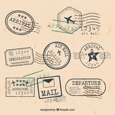 City stamps collection in retro style Free Vector Clip Art Vintage, Vintage Stamps, Etiquette Vintage, Travel Stamp, Script Writing, Style Retro, Graphic Design Projects, Journal Stickers, Collage Sheet