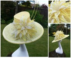 Stunning headpiece with dramatic oversized lily flower and centre pearl stamens. Petals are all hand dyed and shaded in ivory and yellow tones. Double bias brim in contrasting colours, finished off with double ostrich quills   This piece is made to order and can be offered in various colour options.  We ship outside of the UK but due to price variations we would ask you contact us prior to ordering for a shipping quote Many thanks