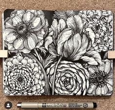 Botanical Line Drawing, Floral Drawing, Botanical Drawings, Botanical Art, Mandala Art Lesson, Mandala Drawing, Ink Illustrations, Illustration Art, Ecole Art