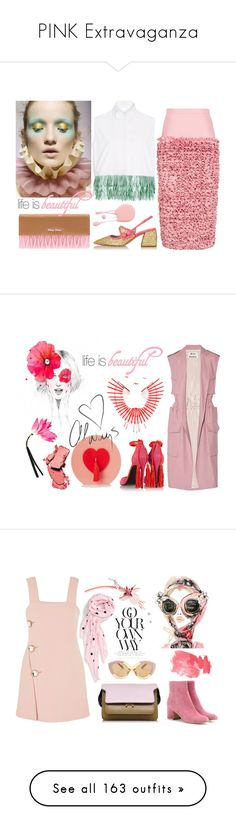"""""""PINK Extravaganza"""" by erindream ❤ liked on Polyvore featuring Ruban, Miu Miu, Poesia, Delpozo, Dolce&Gabbana, Pierre Hardy, Acne Studios, Charlotte Olympia, WALL and COVERGIRL"""