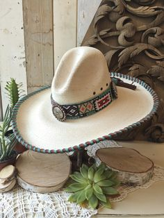2b1dd6fb295 Indian Blanket Beaded Hat — Melissa Benge Collection Western Cowboy Hats