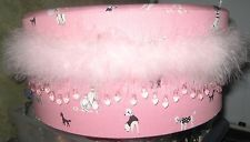 PINK POODLE HAT BOX  THAT FANCY WITH FLUFF AND STONES AROUND IT. Pink Poodle, Vintage Hat Boxes, Vintage Luggage, Stones, Fancy, Hats, Ebay, Rocks