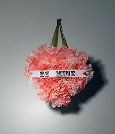Valentine's Day wreath from dyed coffee filters.
