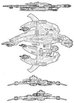 Breen Battleship Drawing Reference, Line Drawing, Bing Bong, Star Wars Watch, Spaceship Concept, Sci Fi Ships, Sci Fi Tv, Blue Prints, Star Trek Ships