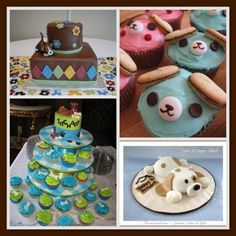 Cute Puppy Cakes & Cupcakes for a Baby Shower!  This Squidoo page has tons of ideas for a puppy baby shower theme.