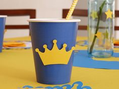 Party Decor - Little Prince theme, blue and gold, crown. Baby Boy 1st Birthday Party, Prince Birthday, Baby Boy Birthday, 3rd Birthday Parties, Ben And Holly Party Ideas, Ben E Holly, Little Prince Party, 1st Birthday Chalkboard, Birthday In Heaven