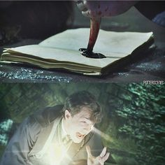 Harry stabs Tom Riddle's diary.