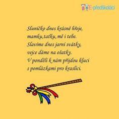 Básničky | MŠ Jažlovická Spring Crafts, Embroidery Designs, Preschool, Projects To Try, Education, Cards, Easter, Children, Carnavals