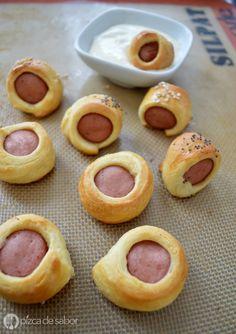 Cómo hacer salchichas en hojaldre (pigs in a blanket) www.pizcadesabor.com