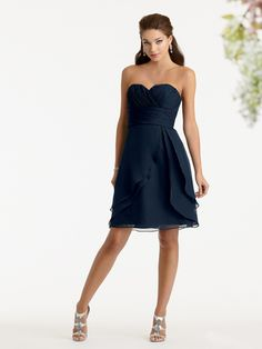 Bridesmaid Dresses & Gown Photos - Find the perfect bridesmaid dress pictures at WeddingWire. Browse through thousands of wedding photos of bridesmaid dresses and gowns. Navy Blue Bridesmaid Dresses, Designer Bridesmaid Dresses, Bridesmaid Dress Styles, Bridesmaid Ideas, Wedding Bridesmaids, Navy Dress, Bridesmaid Hair, Wedding Party Dresses, Bridal Dresses