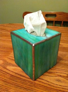 "Tissue Box (This is the 1st project I have my ""box class"" students do. They learn to work with 3D stained glass, but don't have to deal with hinges & bottoms yet)"
