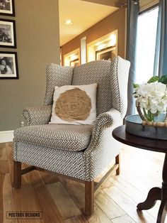 Herringbone upholstered wingback chair by Postbox Designs, wingback chair, family room ideas, family room decorating, furniture makeover, reupholster a chair, cottage style living room, E-Design
