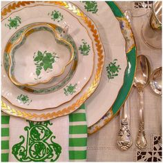 Herend and green tablescape