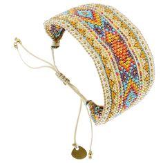 Bracelet manchette large Diamond (corail et jaune) - Bijoux Fantaisie Créateurs