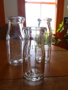 Three little Milk Bottles by BigBarnAntiques on Etsy, $16.00