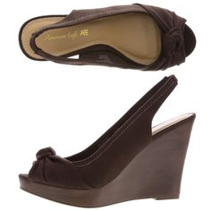 $30 at payless ---brown wedges will match better all together and bring the suits together with the girls annnd that way they wont clash with the slightly different shades of olive green