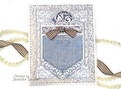 """Scrap Escape -DIY pocket card ( perfect to hold a tag or gift card) created for Spellbloggers - using Spellbinders - A2 Divine Eloquence Card Creator Die -   and Maja Design """"denim & Friends"""" paper collection.   DIY instructions on blog."""