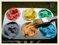 Make shaving cream based bath paint.