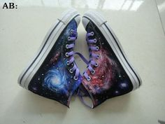 Galaxy Shoes 2013 Galaxy Shoes High Top Hand by paintedscanvas